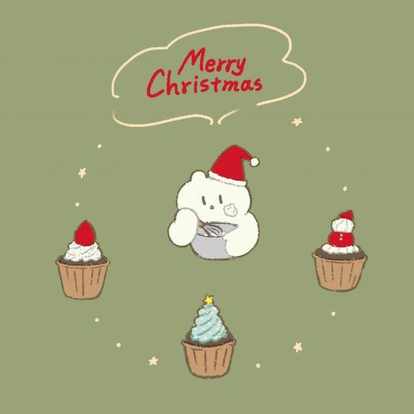 動物イラスト⑤しろくまとクリスマスケーキ